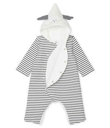 Unisex Baby Long Hooded Jumpsuit Marshmallow white / Smoking blue