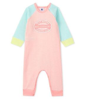 Babies' Footless Ribbed Sleepsuit Verglas green / Marshmallow white