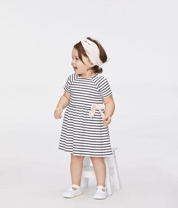 Baby Girls' Striped Short-Sleeved Dress Marshmallow white / Smoking blue