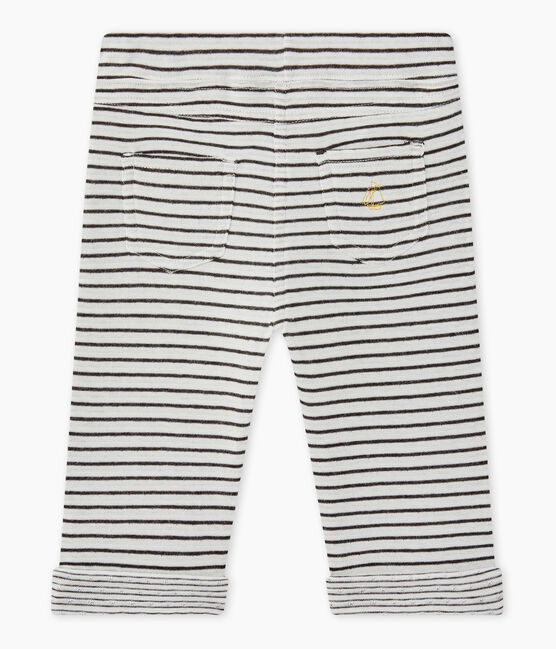 Baby boy's striped pants Marshmallow white / City black