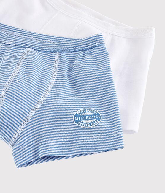 Boys' Ribbed Blue Pinstriped Boxer Shorts - 2-Piece Set . set