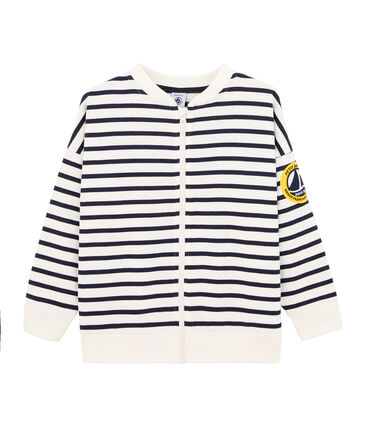 Boys' Cardigan Marshmallow white / Smoking blue