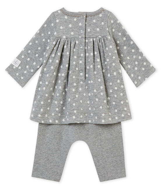 Baby girl's leggings dress Subway grey / Multico white