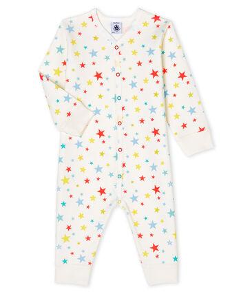 Unisex Baby's Tube Knit Footless Sleepsuit Marshmallow white / Multico white