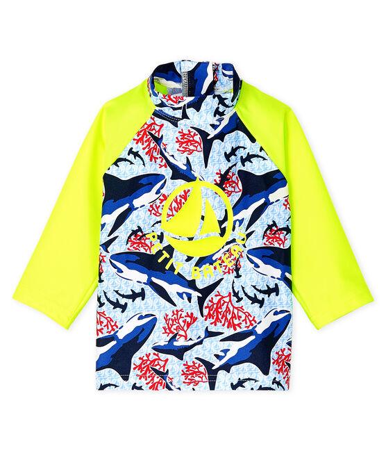 Baby Boys' Eco-Friendly UPF 50+ UV-Proof T-shirt Smoking blue / Multico white