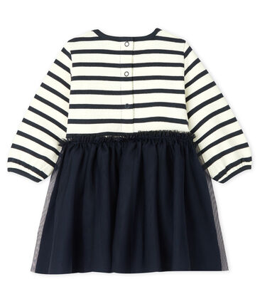 Baby Girls' Long-Sleeved Dual Material Dress Coquille beige / Smoking blue