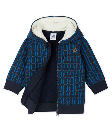 Baby Boys' Printed Fleece Sherpa Lined Hoody Smoking blue / Multico Cn white