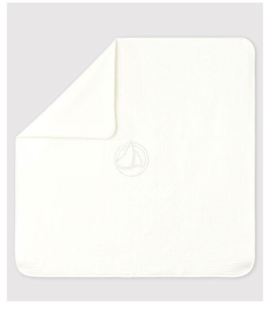 Organic Cotton Tube Knit Baby Blanket Marshmallow white