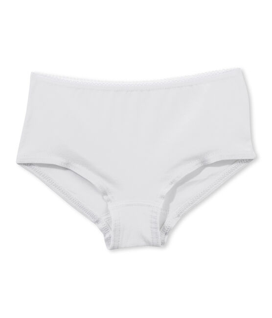 Girl's plain shorty Ecume white