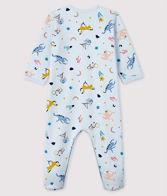 Babies' Blue Animal Print Fleece Sleepsuit Fraicheur blue / Multico white