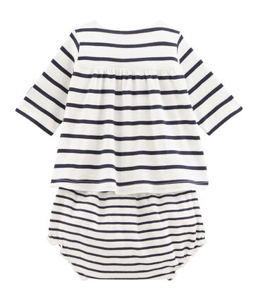 Baby girls' rib knit dress and bloomers Marshmallow white / Smoking blue