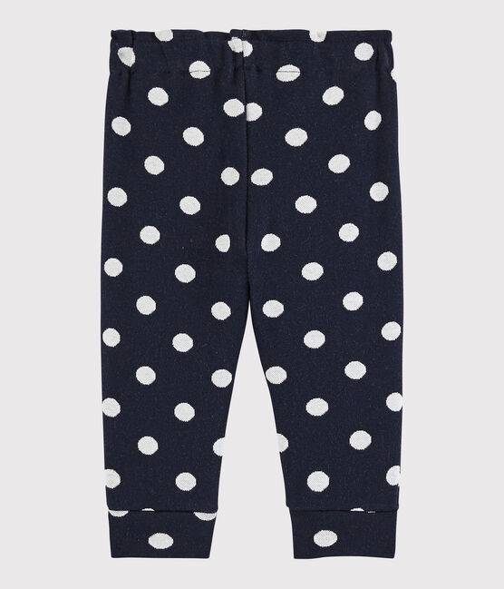 Baby girl's spotty trousers Smoking blue / Marshmallow white