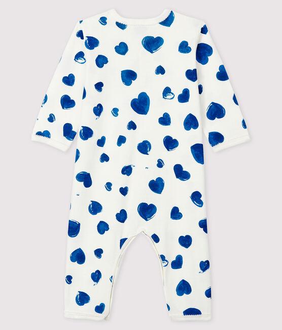 Baby Girls' Footless Blue Heart Ribbed Sleepsuit Marshmallow white / Multico white