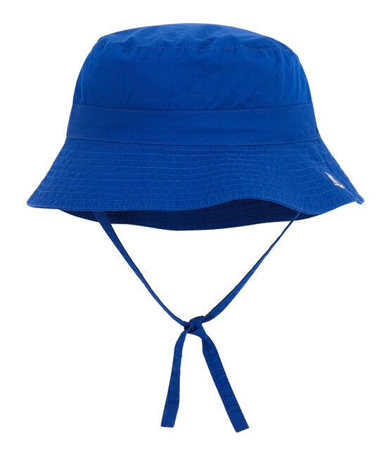 Baby's unisex sun hat made of plain twill. Surf blue