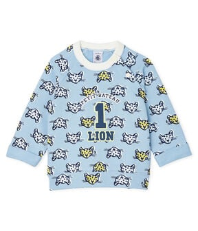 Baby Boys' Fleece Sweatshirt Jasmin blue / Multico white