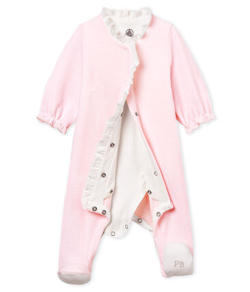 Baby girls' pinstriped velour bodyjama