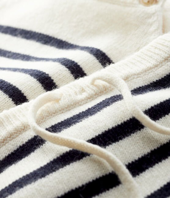 2-piece striped knit baby set Marshmallow white / Smoking blue