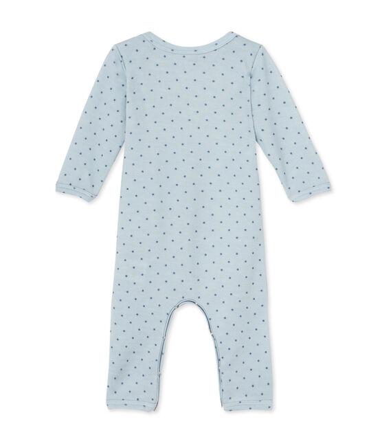 Baby boys' short wool and cotton coverall Fraicheur blue / Tempete grey