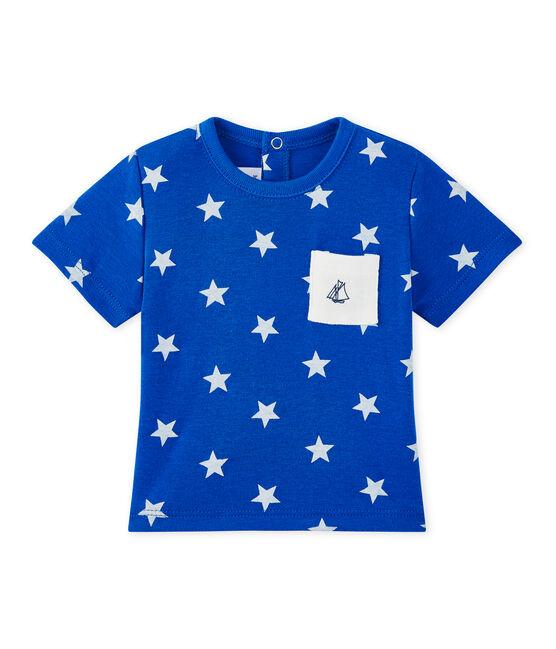 Baby boy's print T-shirt Perse blue / Marshmallow white