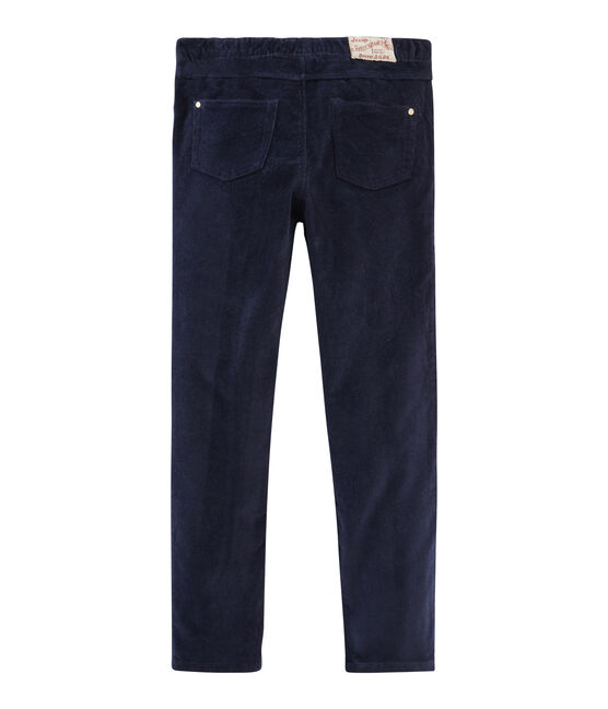 Girls' Slim-Fit Velour Trousers Smoking blue