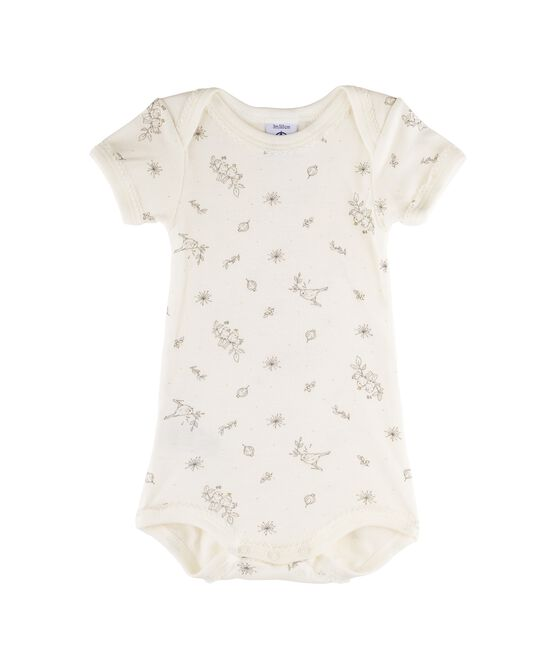Baby Girls' Short-Sleeved Bodysuit Marshmallow white / Multico white