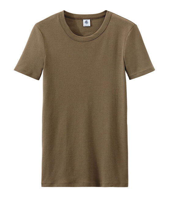 Women's T-shirt in heritage rib Shitake brown