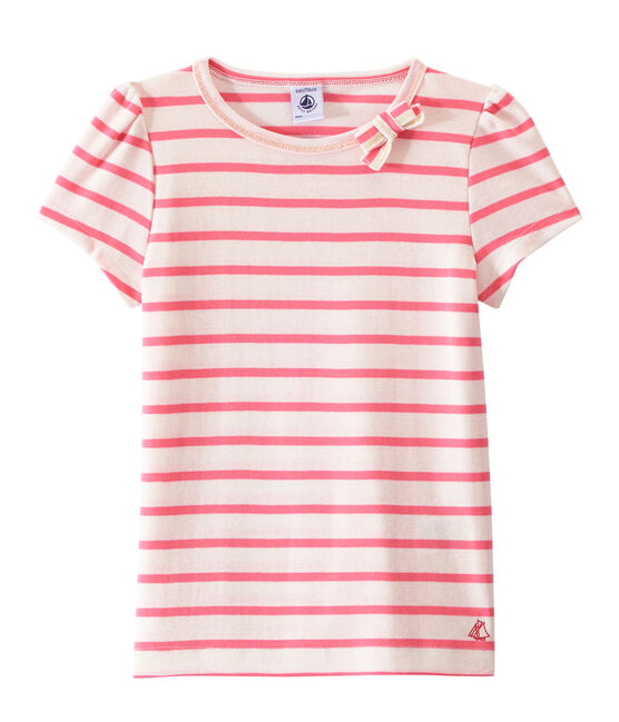 Girl's sailor-striped T-shirt Marshmallow white / Petal pink