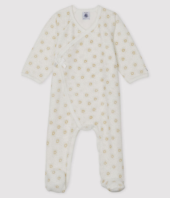 Baby Girls' Velour Sleepsuit Marshmallow white / Or yellow