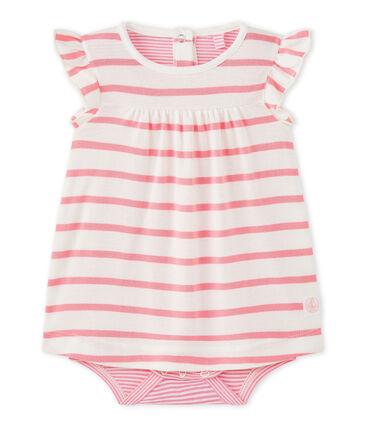 Baby girls' striped bodysuit dress Marshmallow white / Petal pink