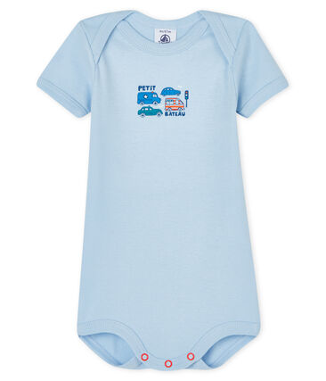 Baby boys' short-sleeved bodysuit Jasmin blue