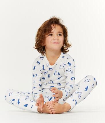 Unisex Pyjamas in Extra Warm Brushed Terry Towelling Marshmallow white / Major blue