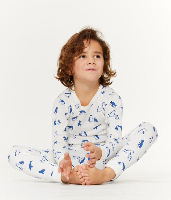 Unisex Pyjamas in Extra Warm Brushed Terry Towelling Marshmallow white / Major blue