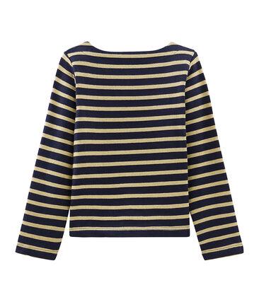 Girl's Long-sleeved Sailor Top Smoking blue / Brindille Brillant brown