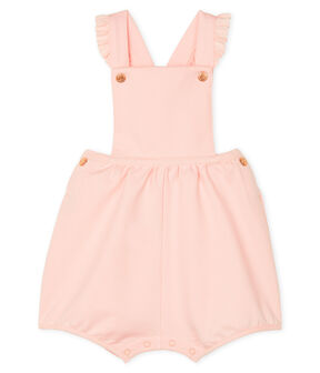 Baby Girls' Short Fleece Dungarees Minois pink