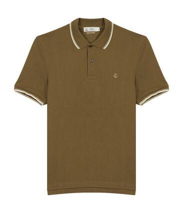 Men's short-sleeved polo shirt Shitake brown