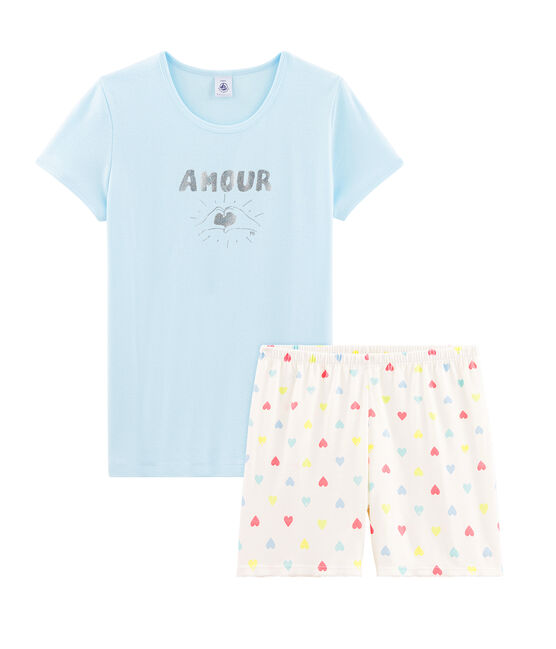 Girls' Ribbed Short Pyjamas Glacis blue / Multico white