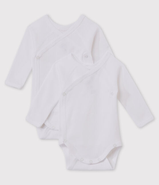 Babies' White Long-sleeved Wrapover Organic Cotton Bodysuits - 2-Pack . set