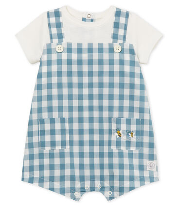 Baby boys' playsuit Fontaine blue / Marshmallow white