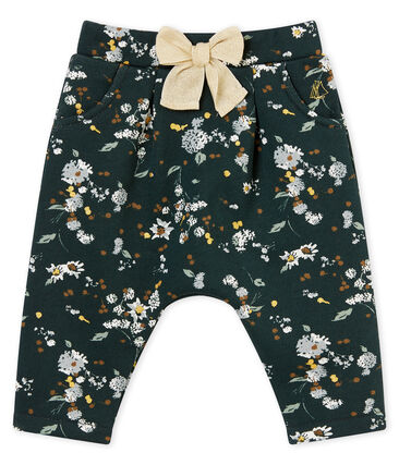 Baby girl's warm printed cotton sweatshirt trousers