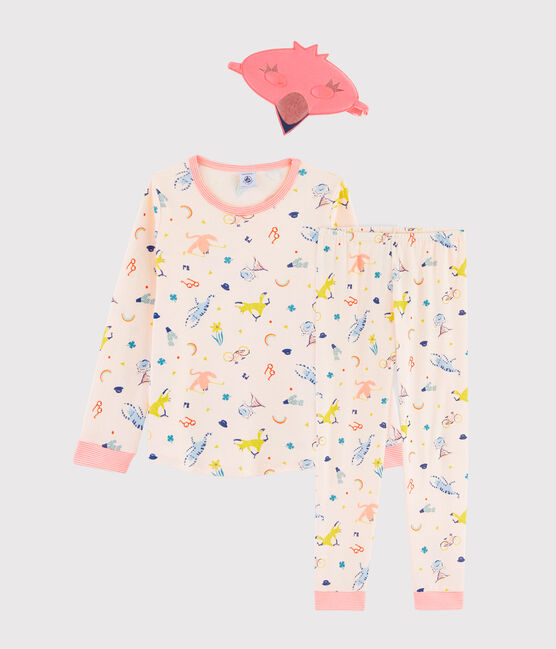 Girls' Pink Flamingo Disguise Ribbed Pyjamas Fleur pink / Multico white