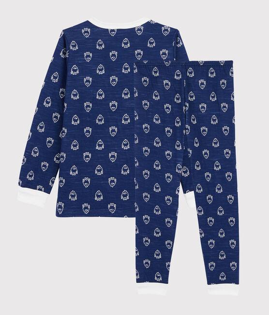 Boys' Yeti Patterned Wool/Cotton Pyjamas Medieval blue / Marshmallow white