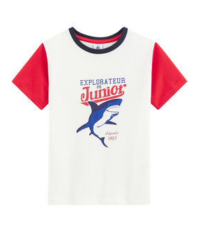Boys' T-Shirt Marshmallow white / Peps red