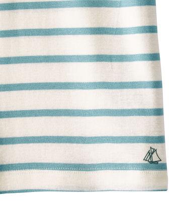 Girl's sailor-striped T-shirt Marshmallow white / Mimi blue
