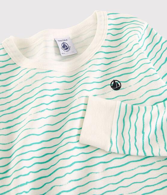 Boys' Green Snugfit Wave Print Cotton Pyjamas MARSHMALLOW/VERT