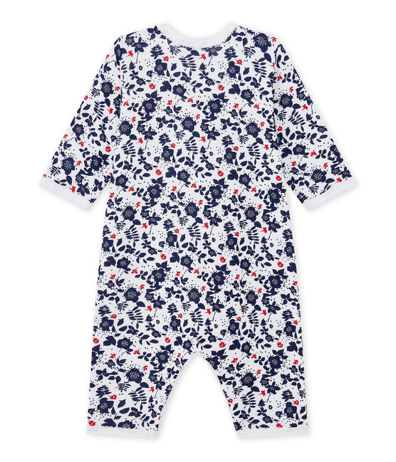 Baby girl's footless sleepsuit in a double knit Ecume white / Multico white