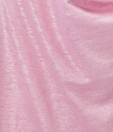 Women's iridescent linen top Babylone pink / Argent grey