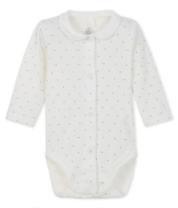 Baby girl's long-sleeved bodysuit with collar Marshmallow white / Gris grey