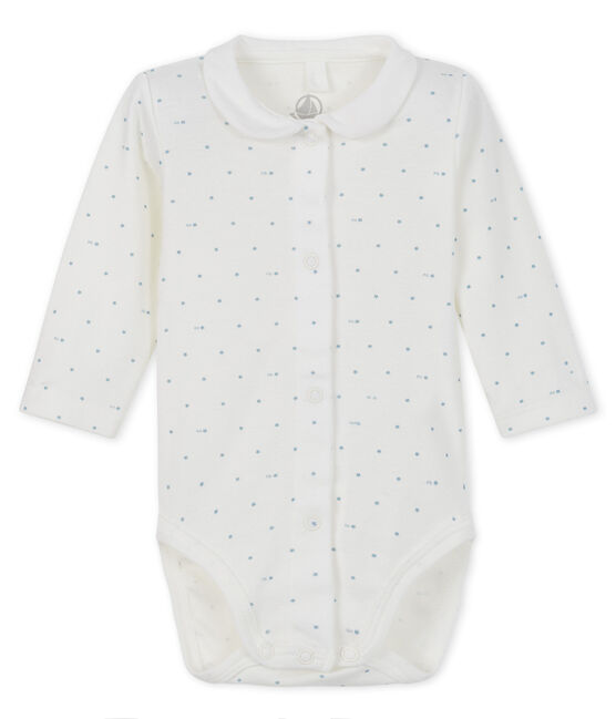 Unisex long-sleeved bodysuit with collar Marshmallow white / Gris grey