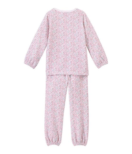 Girl's print velour pyjamas Ecume white / Multico white