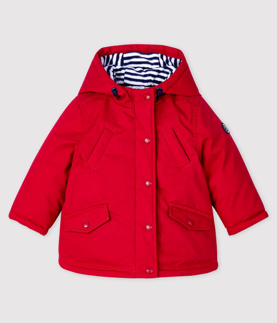 Baby boy's mid-length parka Terkuit red